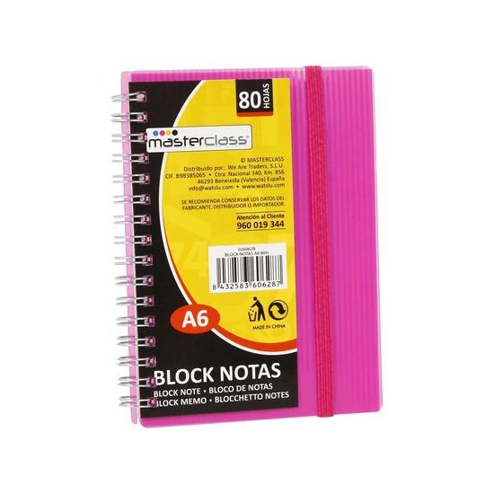 BLOCK NOTAS A6 80 HOJAS COLORES SURTIDOS, MASTERCLASS, 1UDS.