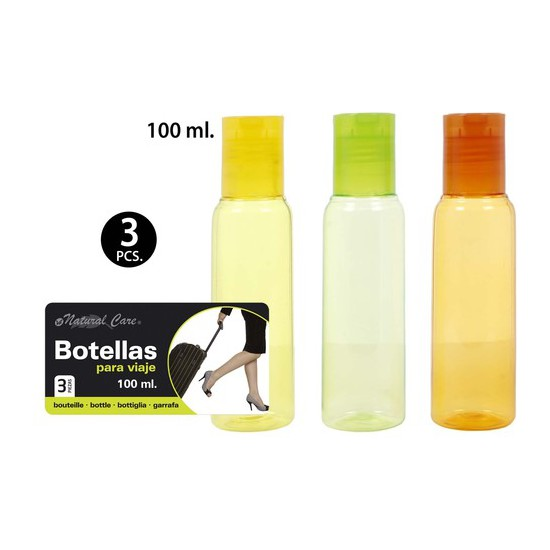 BOTELLAS VIAJE 100ML., NATURAL CARE, 3UDS.