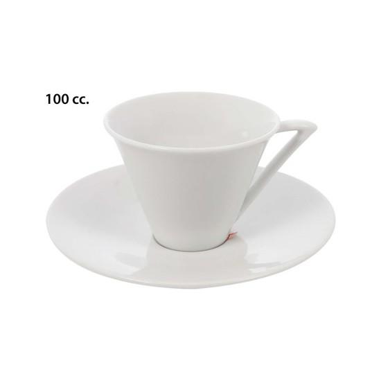 TAZA CAFÉ CON PLATO BLANCO, PRIVILEGE, 100CC.