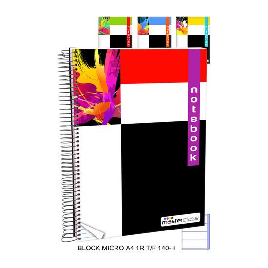 BLOCK MICRO 1 RAYA  TAPA FUERTE 140 HOJAS, MASTERCLASS, -DISEÑO-, A4