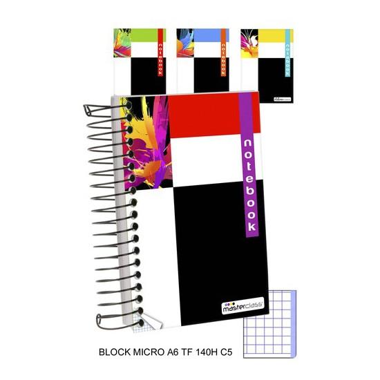 BLOCK CUADRICULA 5MM TAPA FUERTE MICRO 140 HOJAS, MASTERCLASS, -DISEÑO-, A6