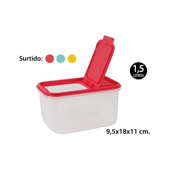 BOTE MULTIUSOS RECTANGULAR SURTIDO COLORES, WAT, 1,5L.