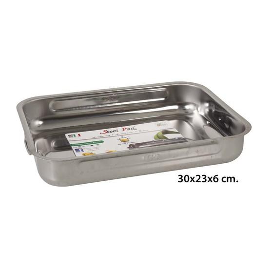 ASADORA RECTANGULAR INOXIDABLE, STEEL PAN, 30CM.