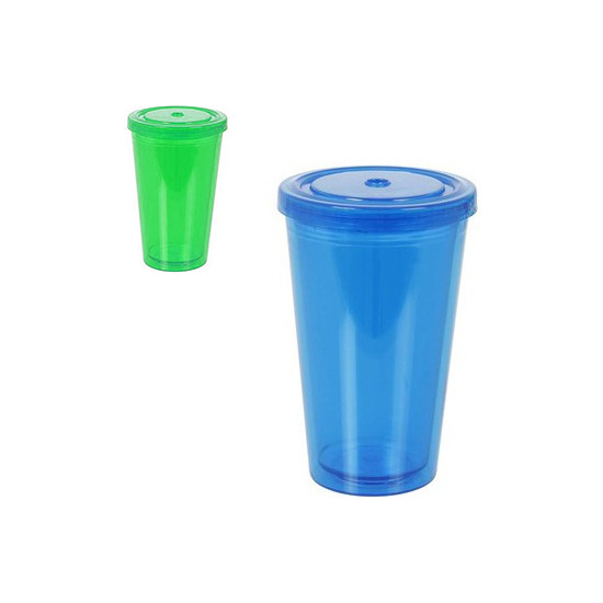 VASO CON TAPA SURTIDO COLORES, PRIVILEGE, 450ML.