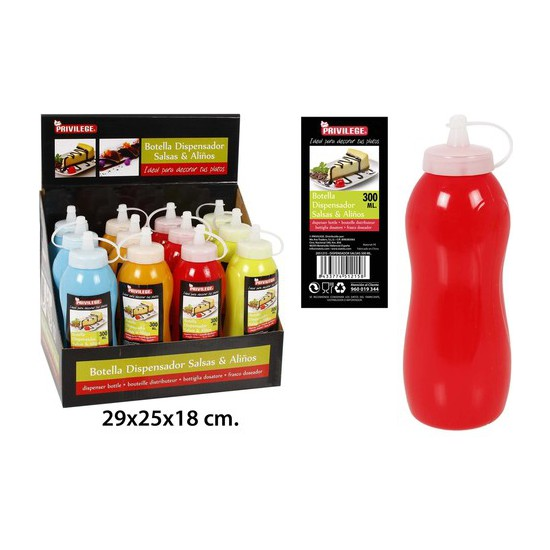 DISPENSADOR SALSAS SURTIDO COLORES, PRIVILEGE, 300ML.