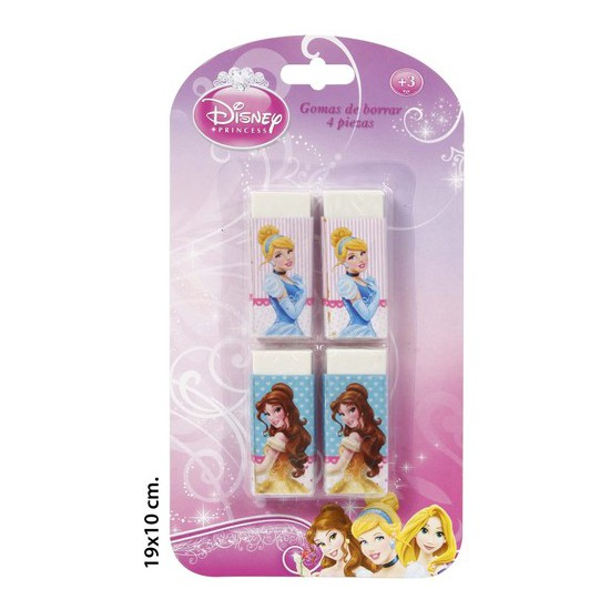 GOMAS BORRAR, DISNEY, -PRINCESS-, 4UDS.
