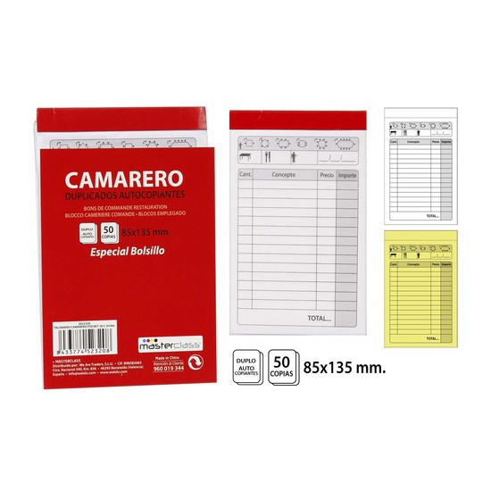 TALONARIO CAMARERO 50 COPIAS, MASTERCLASS, -POCKET-, 85X135CM.
