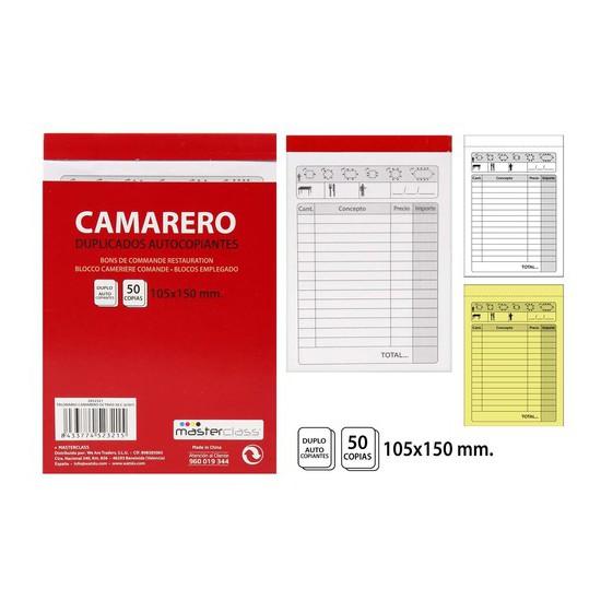 TALONARIO CAMARERO 50 COPIAS, MASTERCLASS, -OCTAVO-, 105X150CM.