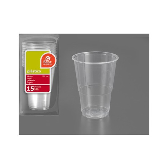 VASO PLÁSTICO IRROMPIBLE 330CC., BEST PRODUCTS, 15UDS.