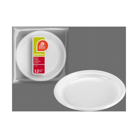 PLATO PLÁSTICO POSTRE 17CM. 4,5 GRUESO, BEST PRODUCTS, 12UDS.