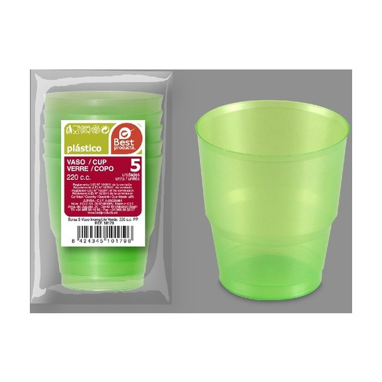 VASO IRROMPIBLE VERDE 220CC., BEST PRODUCTS, 5UDS.