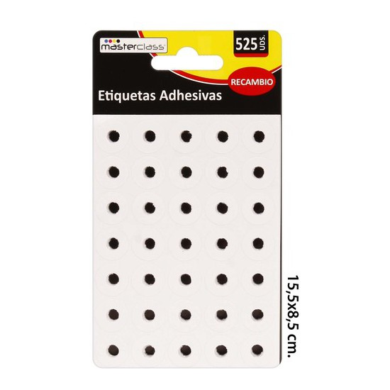 ETIQUETAS ADHESIVAS RECAMBIO, MASTERCLASS, 525 PIEZAS.