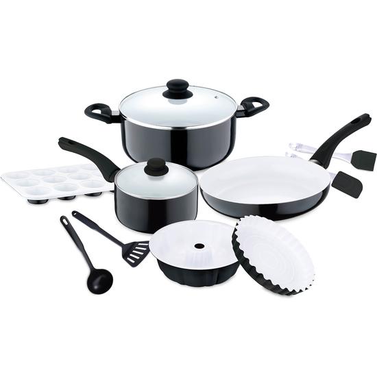 Bater a de cocina manhattan de 12 piezas blanco y negro - Bateria de cocina solingen 12 piezas ...