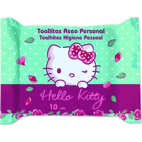 TOALLITAS ASEO PERSONAL 10UD HELLO KITTY