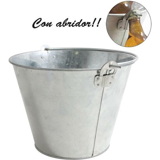 CUBO METAL GALVANIZADO CON ABRIDOR 10L