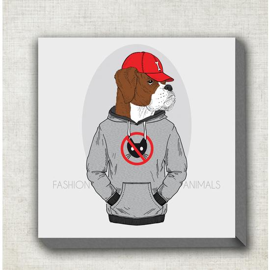 CUADRO DE TELA FASHION ANIMALS DOGO