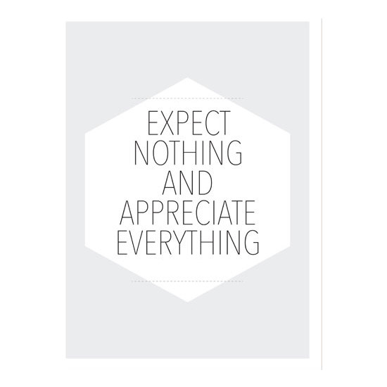 CUADRO DE TELA EXPECT NOTHING AND APPRECIATE EVERYTHING