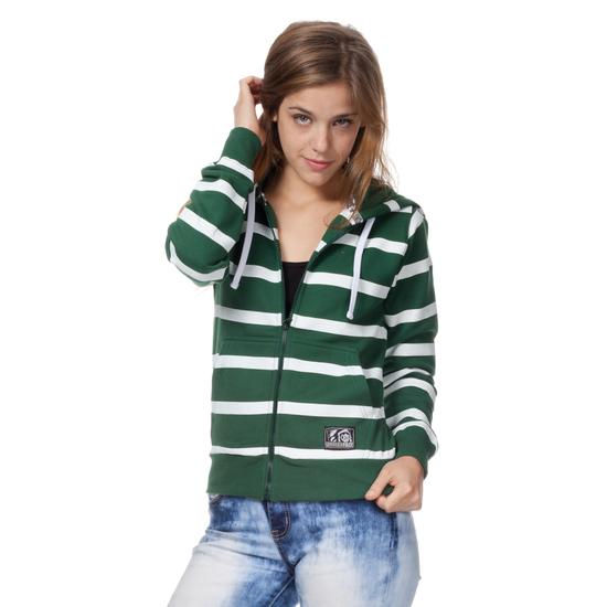 SUDADERA CON CREMALLERA GIRL BASIC VERDE RAYAS BLANCAS